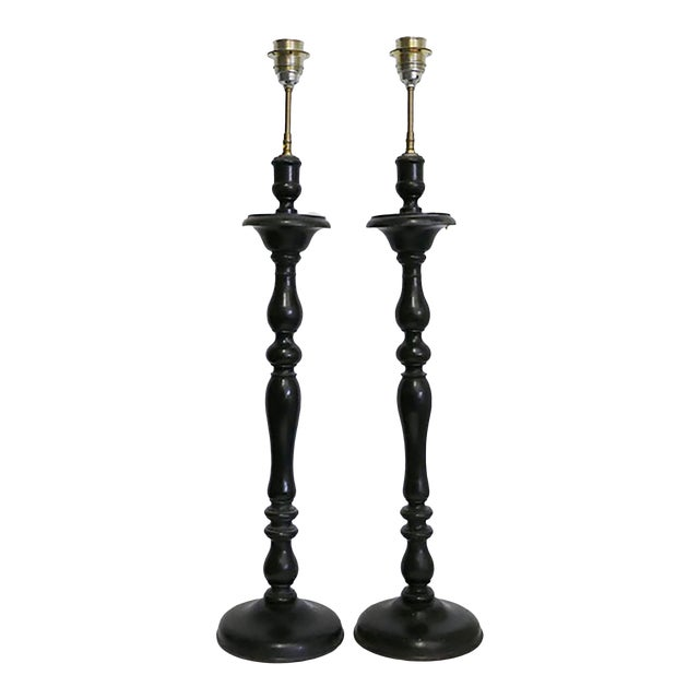Antique French Lamps Made From Wooden Candlesticks For Sale