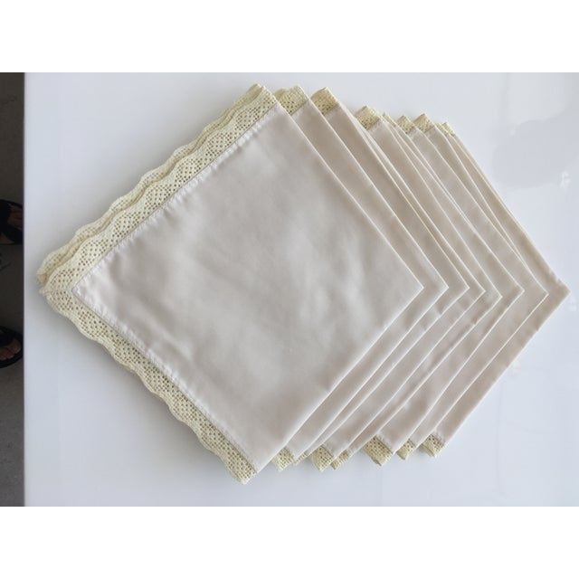 1940s 1940s Shabby Chic Embroidered Table Napkins - Set of 8 For Sale - Image 5 of 5