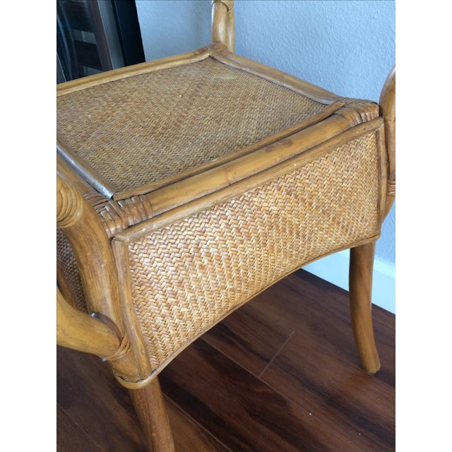Vintage Bohemian Rattan Wicker Table - Image 8 of 8