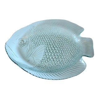 1980s Vintage Arcoroc Glass Fish Plate, France For Sale