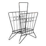 Image of Mid Century Wrought Iron Wire Magazine Rack For Sale