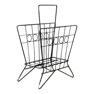 Mid Century Wrought Iron Wire Magazine Rack For Sale