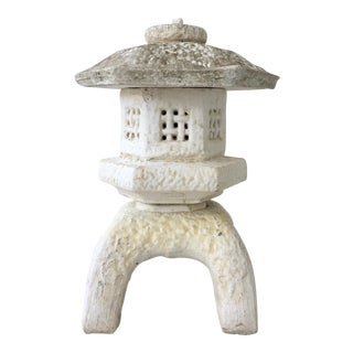 20th Century Japanese Cast Stone Pagoda Lantern Sculpture For Sale