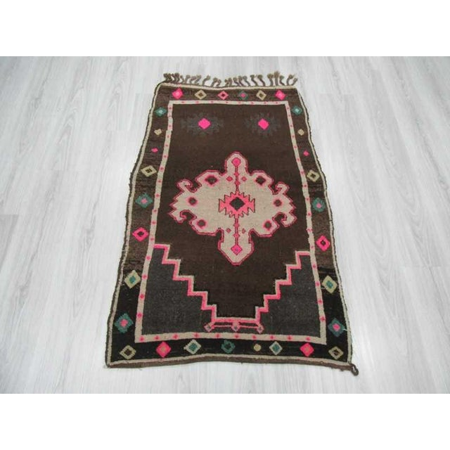 Mid-Century Modern Vintage handknotted small decorative Turkish Kars area rug For Sale - Image 3 of 6