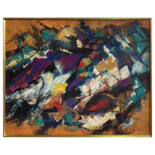 Abstract Oil Painting by Constantine Pougialis For Sale