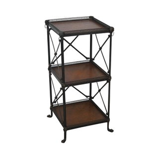 Regency Style 3 Tier Bronze Metal & Leather Etagere