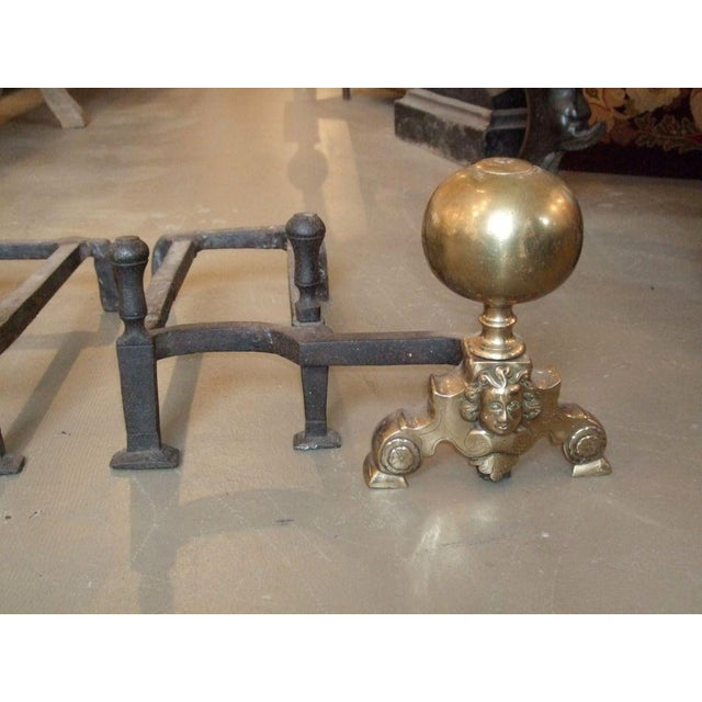 19th Century Double-Arm Andirons - A Pair For Sale - Image 4 of 7