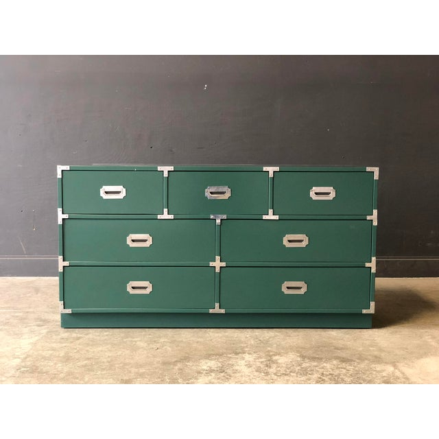 Green Lacquered 7 Drawer Campaign Style Chest/Dresser For Sale In New York - Image 6 of 6