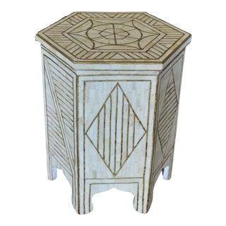 Bone & Brass Side Table For Sale