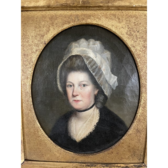 English Late 18th Century English Portrait of a Lady Oil Painting Attributed to John Russell, Framed For Sale - Image 3 of 13