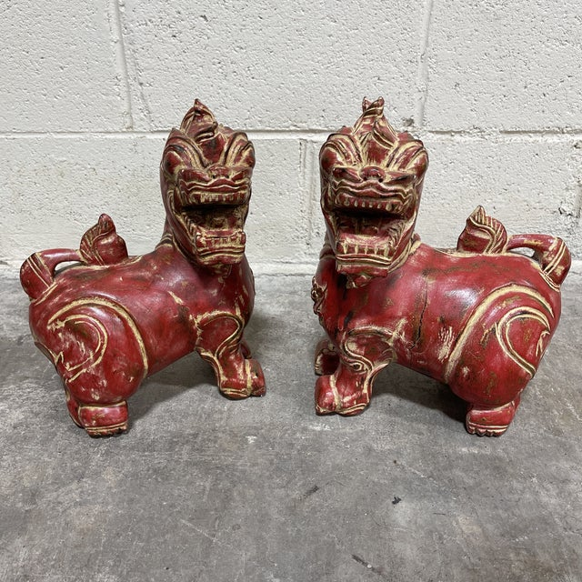 Red Solid Wood Carved Foo Dogs - a Pair For Sale - Image 8 of 10