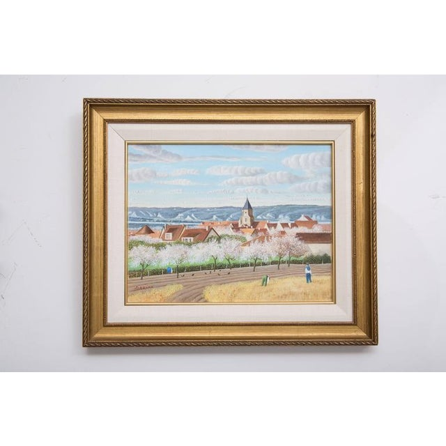 "Pierre Bazire ""Les Andelys au Printemps"" Framed Oil Painting on Board - Image 5 of 5"