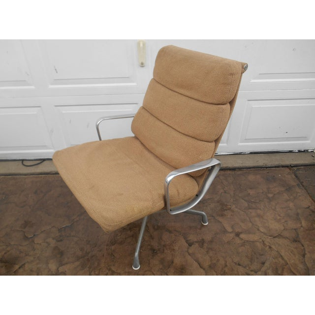 Brown Vintage Herman Miller Padded Swivel Lounge Chair For Sale - Image 8 of 10