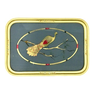 "1930s Art Nouveau Reverse Painted Glass and Gilt Wood ""Peacock"" Tray For Sale"