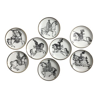 """Cavalieri"" Porcelain Coasters by Piero Fornasetti - Set of 8 For Sale"