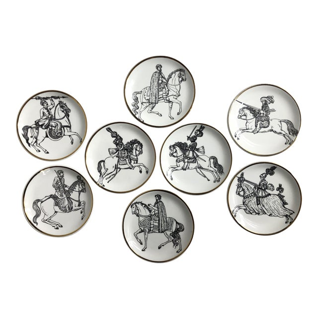 """""""Cavalieri"""" Porcelain Coasters by Piero Fornasetti - Set of 8 For Sale"""