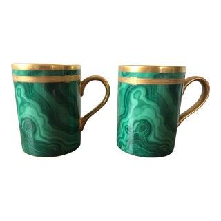 Christian Dior Gaudron Malachite Mugs - A Pair For Sale