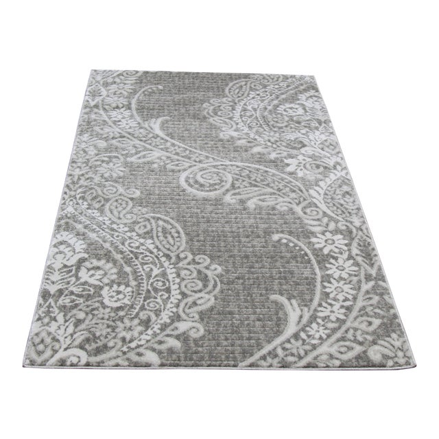 Contemporary Gray Damask Rug- 2′8″ × 5′ - Image 1 of 3