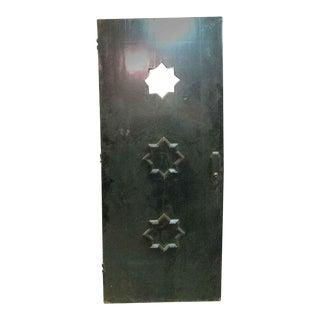 Antique 3 Star Lite Black Oak Entry Door For Sale