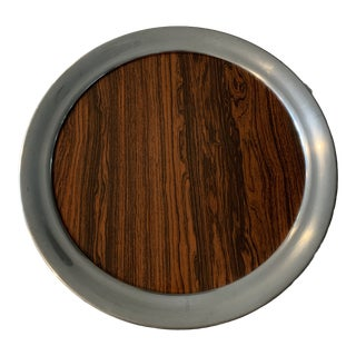 Mid 20th Century Vintage A. L. Hanle Pewter & Rosewood Formica Serving Tray For Sale