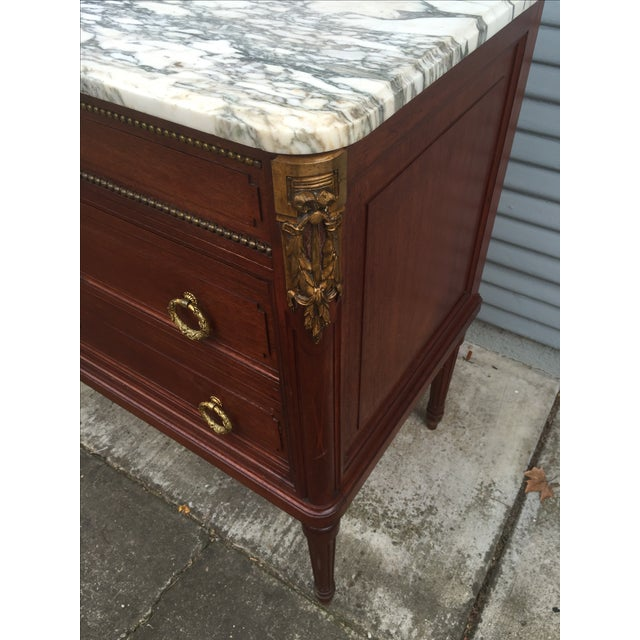 Vintage French Marble-Top Nailhead Trim Dresser - Image 3 of 9