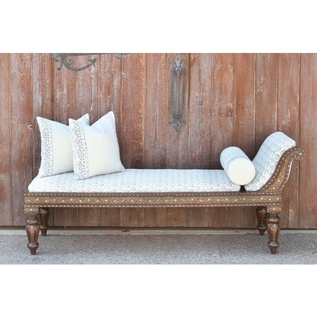 Beautiful Block Print Linen Upholstered Chaise Lounge
