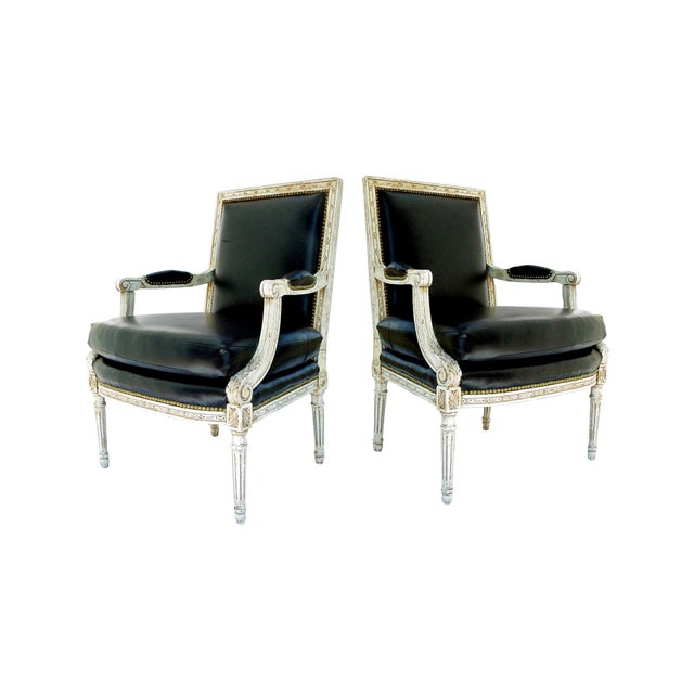 Vintage Black & White Louis XVI Bergere Chairs - A Pair - Image 9 of 9