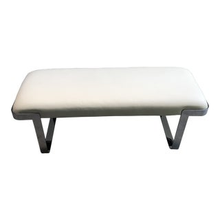 1980s Vintage White Leather and Chrome Bench by Tri-Mark For Sale