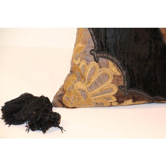 Baroque Silk Velvet Applique Throw Decorative Pillow with Tassels For Sale - Image 10 of 11