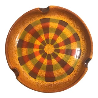1970's Boho Chic Ceramic Sunburst Ashtray For Sale