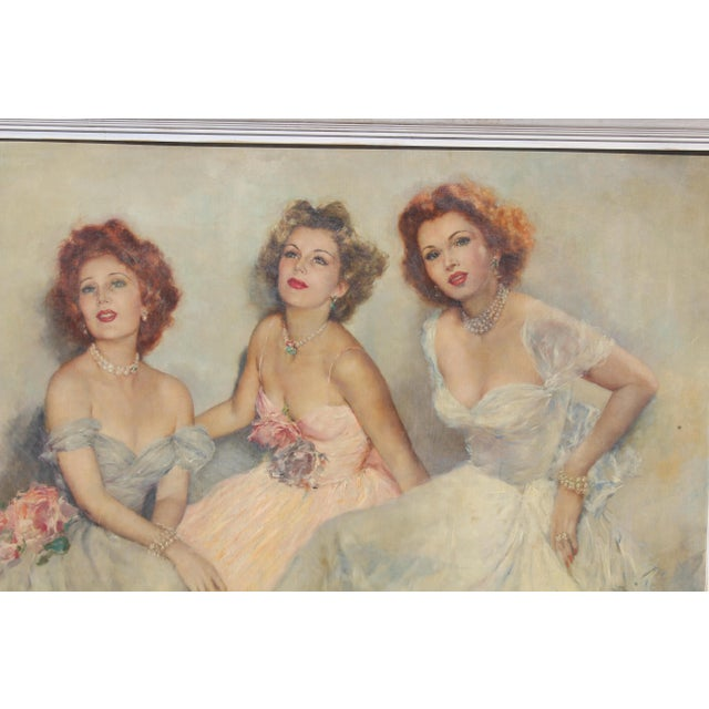 "Mid 20 C. Massive Painting of ""Gabor Sister"" by Artist Pal Fried For Sale - Image 4 of 10"