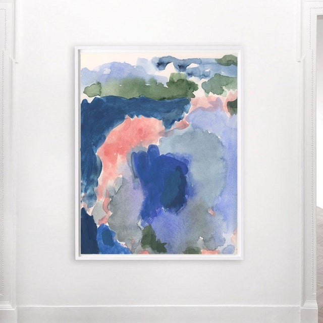 Based on an original painting of vivid color field washes of watery blues and warm pinks. A large statement piece that...