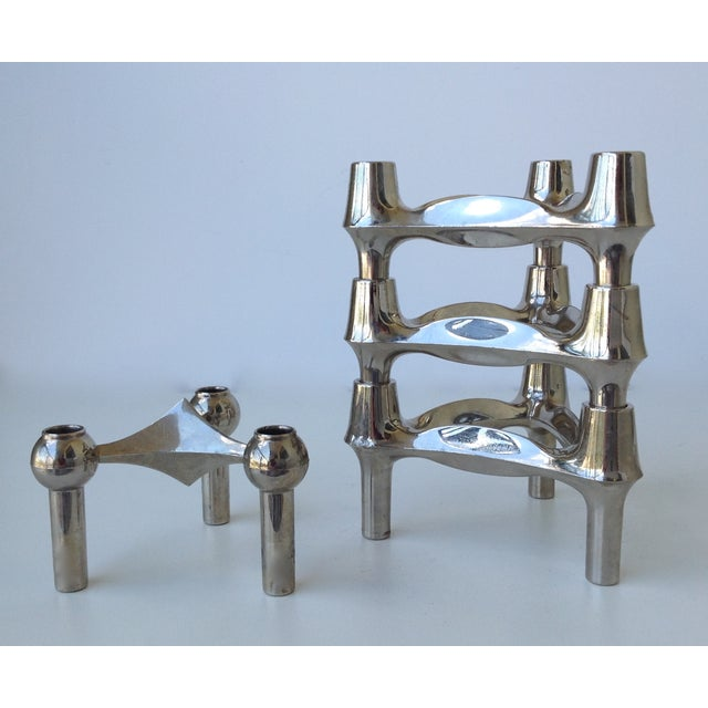 Danish Modern Mid-Cenutry Fritz Nagel & Ceasar Stoffi Chrome-Plated Modular Candleholders - S/4 For Sale - Image 3 of 11