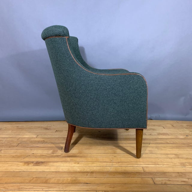 Mid-Century Modern Danish 1950s Armchair, Kvadrat Felted Wool & Leather For Sale - Image 3 of 10