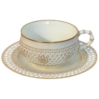 19th Century Sevres Reticulated Cup and Saucer For Sale