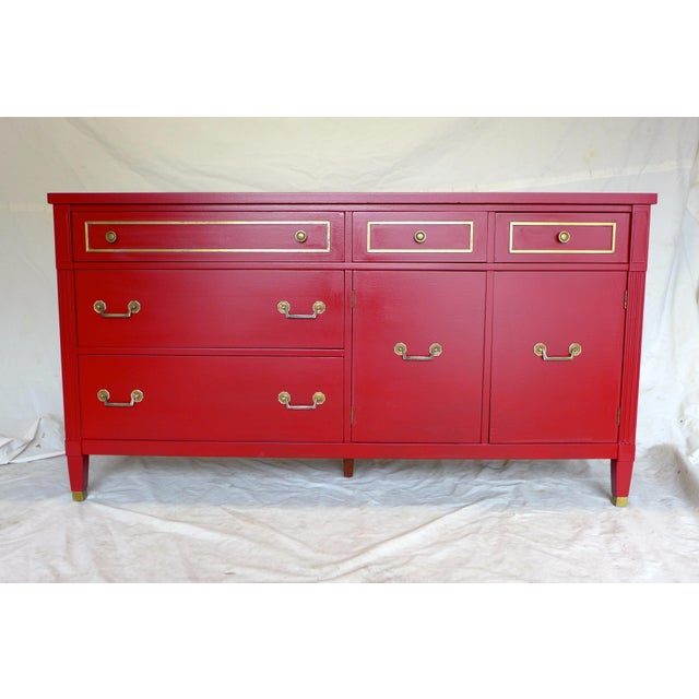 Mid-Century Cherry Red Sideboard - Image 2 of 10