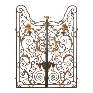 Pair of Early 18th Century Forged and Lacquered Iron Gates From Provence France For Sale