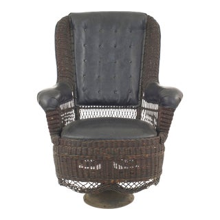 American Victorian Natural Wicker Swivel Chair For Sale