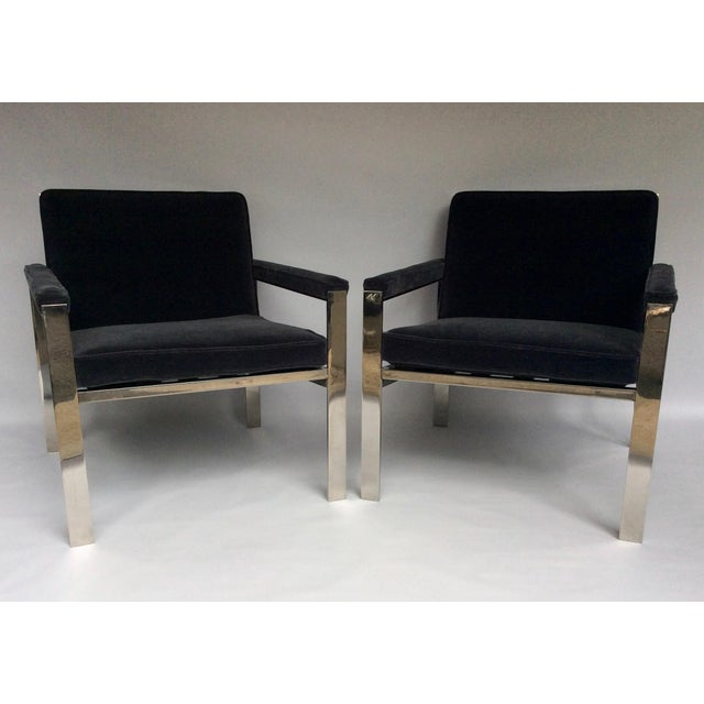 Metal 1970s Knoll Chrome & Mohair Lounge Chairs - A Pair For Sale - Image 7 of 10