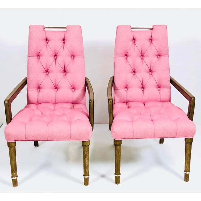 Contemporary Drexel Heritage Pink Tufted Dining Chairs - a Pair For Sale - Image 10 of 10