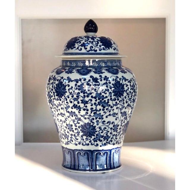"Blue and White Large Porcelain Ginger Jar With Lid, 16"" Urn For Sale - Image 12 of 12"