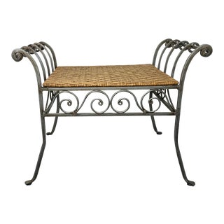 Vintage Coastal Style Wrought Iron & Wicker Vanity Bench For Sale