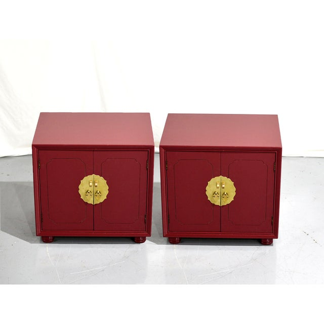 Mauve 1970s Chinoiserie Nightstands With Brass Hardware in Mauve by Henredon - Freshly Painted For Sale - Image 8 of 9