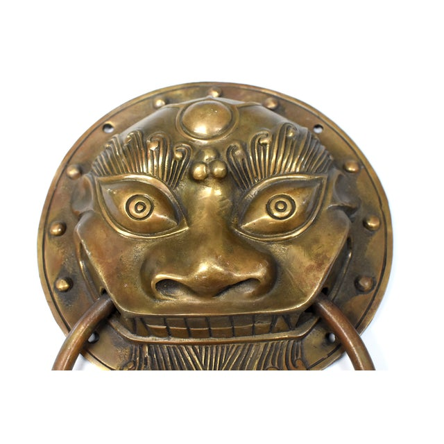 Asian Late 20th Century Beast Motif Brass Knockers- a Pair For Sale - Image 3 of 13