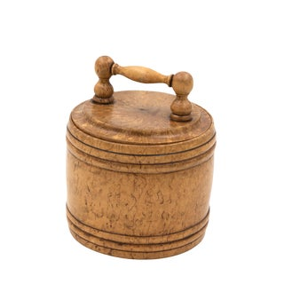 Round Carved Birch Treenware Tobacco Jar With Handle Top, English C. 1820 For Sale
