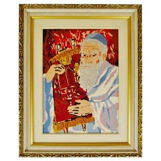 Vintage Framed Judaica Rabbi Needlepoint Artwork For Sale