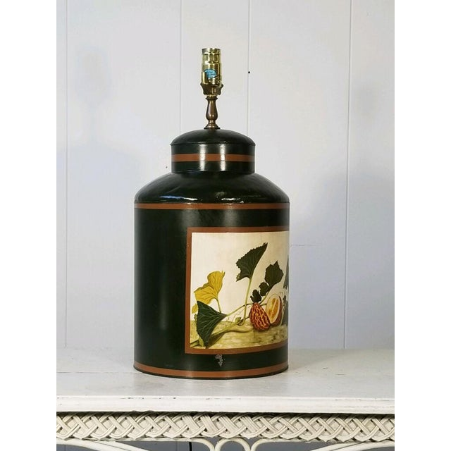 Painted American Tole Lamp by Jm Piers For Sale - Image 4 of 7