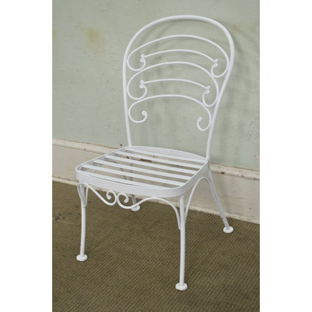 White Woodard Set of 4 White Painted Scrolled Iron Patio Dining Chairs For Sale - Image 8 of 10