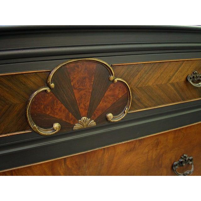 Vintage Flame Walnut & Black Highboy Dresser - Image 6 of 10