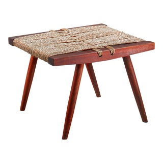 George Nakashima Walnut with Grass Rope Stool, USA, 1950s